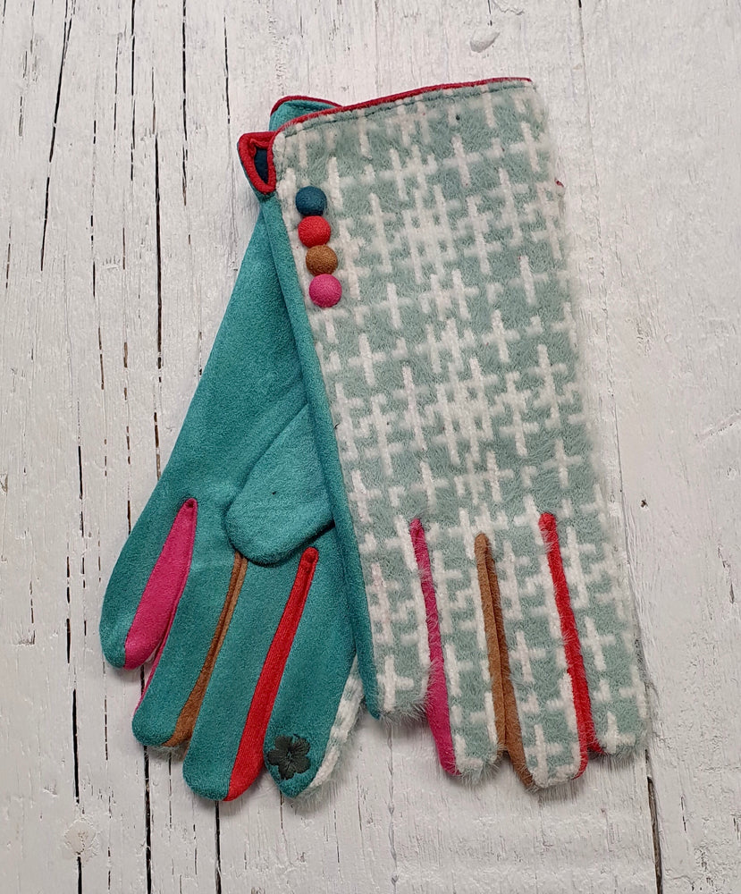 Fluffy Patterned Gloves With Button Detail - Turquoise