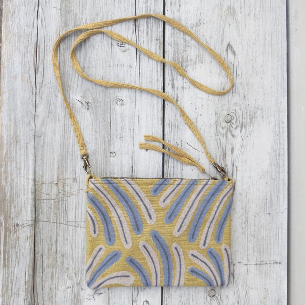 Embroidered Palm Leaves Bag - Mustard