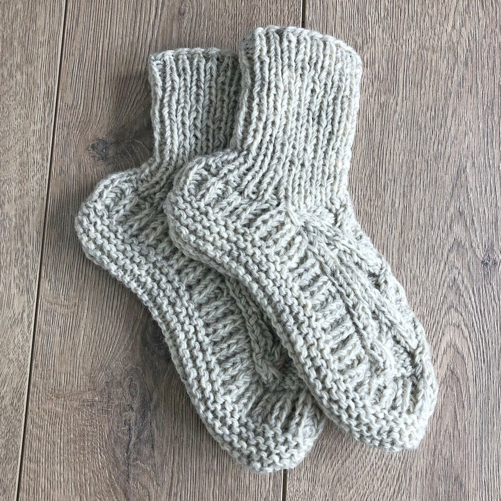 Wool Cable Knit Slipper Socks - Cream