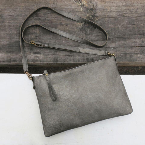 Khusi Faux Leather Large Handbag - Pewter