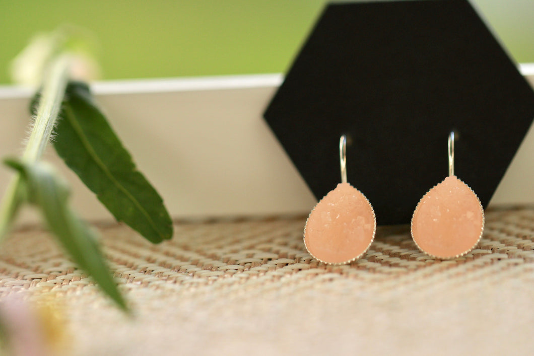 Blush Druzy Dangle Earrings
