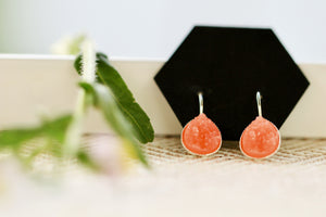 Coral Druzy Dangle Earrings