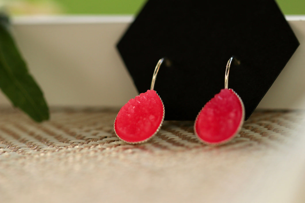 Neon Pink Druzy Dangle Earrings