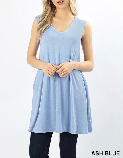 Ash Blue V-Neck Pocket Tunic