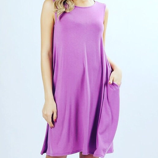 Purple Scoop Neck Pocket Tunic