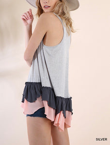 Silver Tank with Ruffle Trim