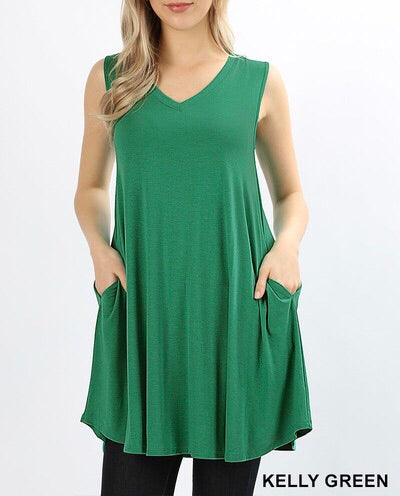 Kelly Green V-Neck Pocket Tunic