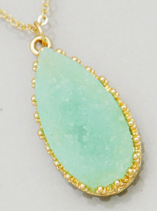 Mint Teardrop Druzy Necklace
