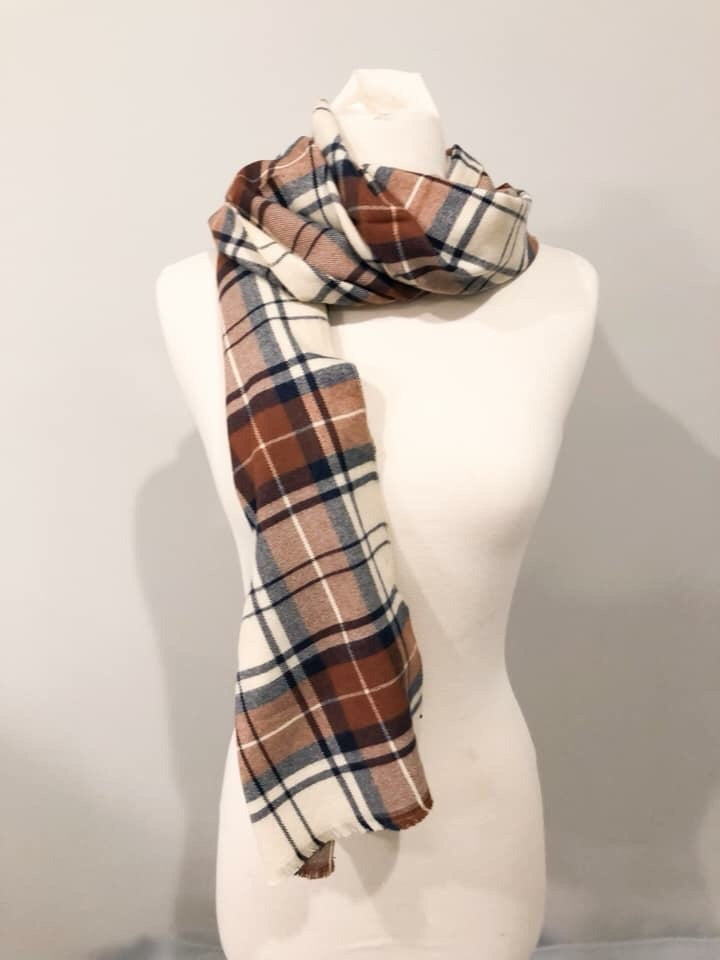 Navy and Taupe Plaid Scarf