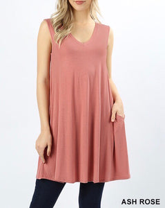Ash Rose V-Neck Straight Hem Pocket Tunic