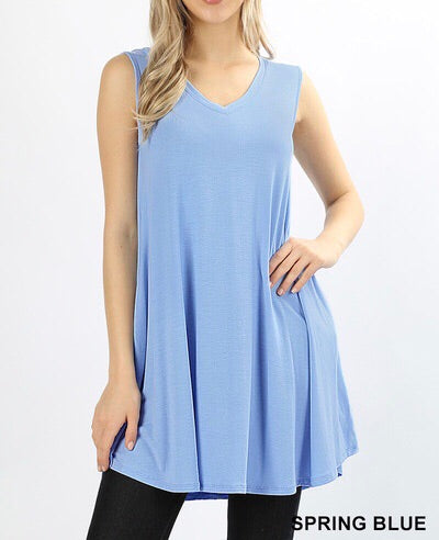 Spring Blue V-Neck Pocket Tunic