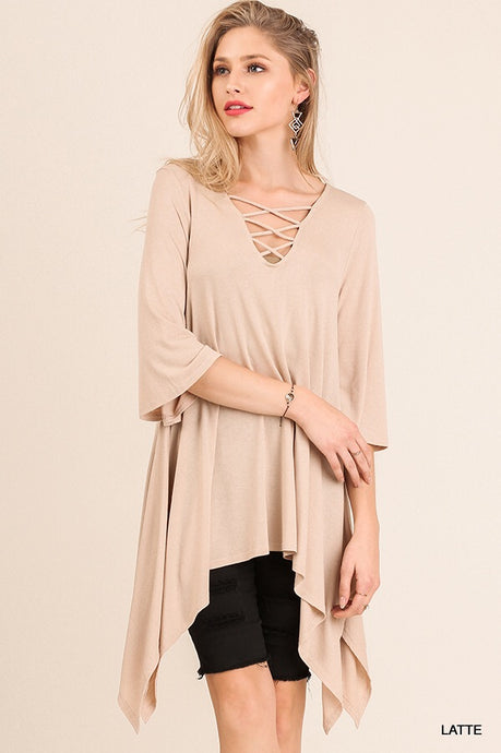 Asymmetrical Tunic with Criss Cross Neckline and Bell Sleeves