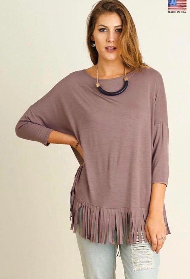 Taupe Fringe Top