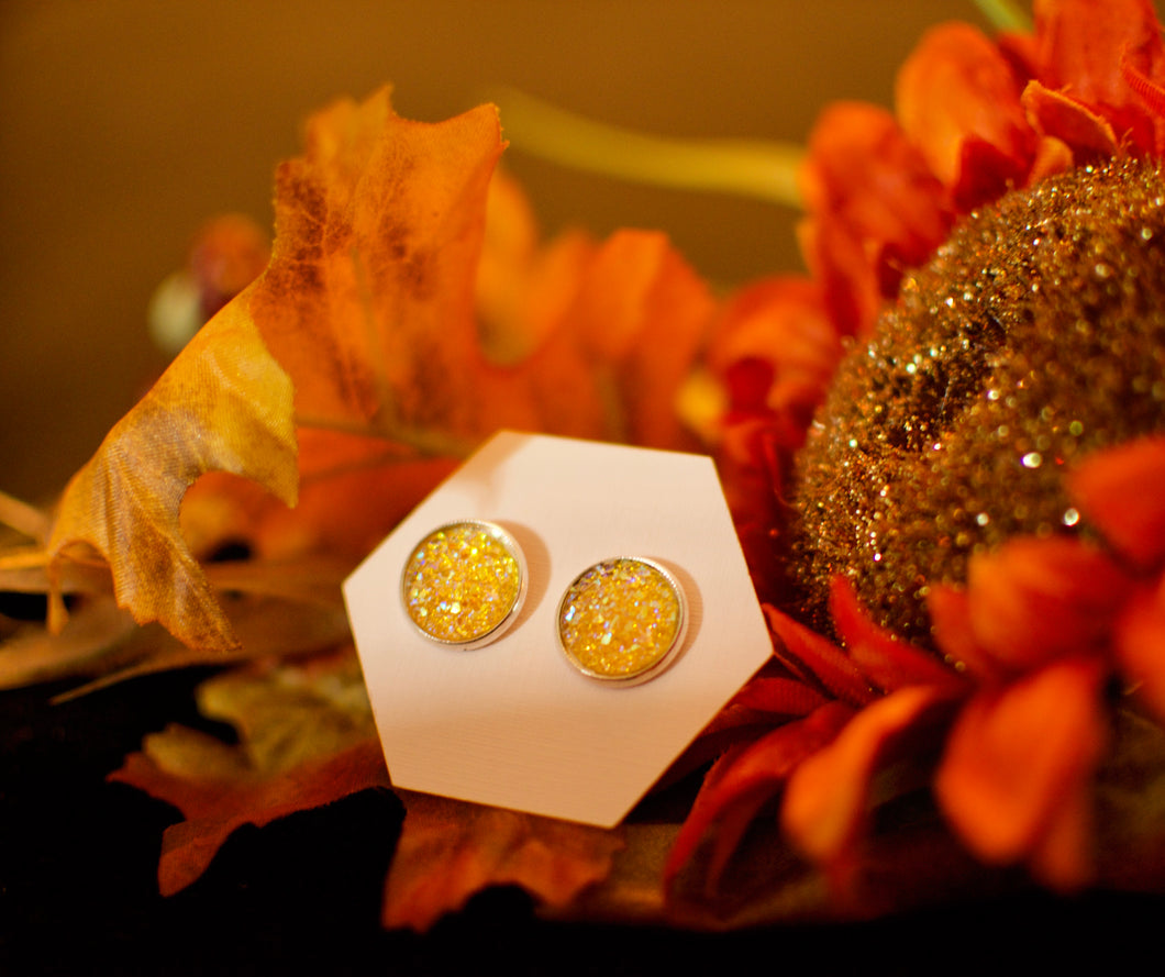Yellow Sparkle Druzy Studs