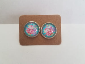 Mint and Pink Floral Acrylic Studs