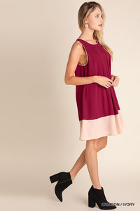 Two Tone Sleeveless Dress with Trim Detail