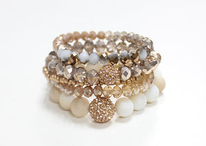 Taupe Crystal and Creme Bracelets