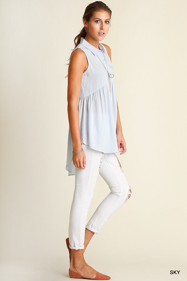 Blue Button Up High Low Tunic