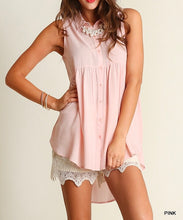 Pink Button Up High-Low Tunic