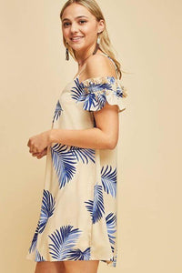 Blue Palm Ruffle Dress