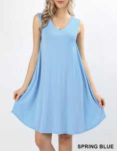 Spring Blue V-Neck Pocket Dress