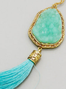 Mint Druzy Tassel Necklace