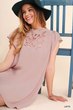 Short Sleeve Dress with Embroidered Detail and Back Keyhole