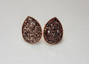 Taupe Druzy Teardrop Studs in Rose Gold Setting