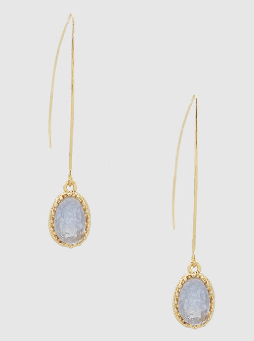 Long Blue Druzy Earrings