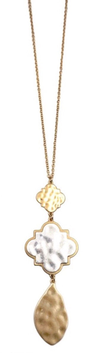 Two Tone Quatrefoil Necklace