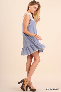 Blue Sleeveless Dress with Lace Detail