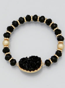Gold and Black Druzy Bracelet