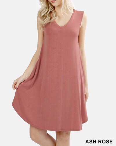 Ash Rose V-Neck Pocket Dress