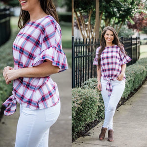 Ruffle Plaid Knot Top