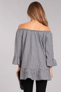 Black Gingham Ruffle Top