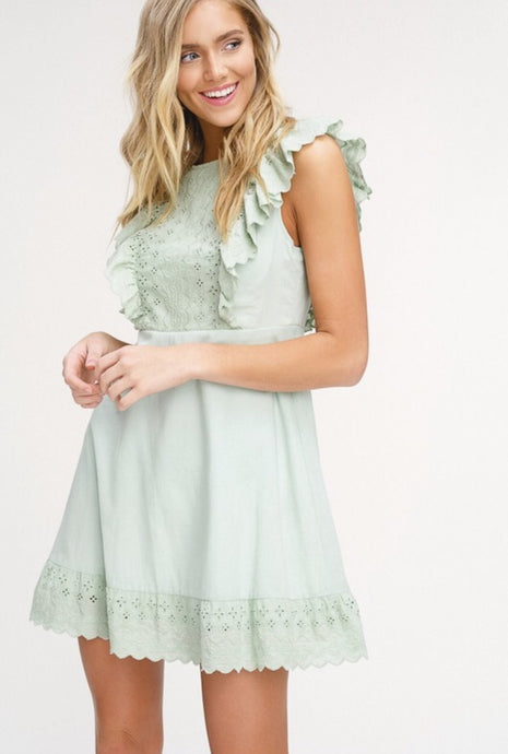 Sage Eyelet Ruffle Dress