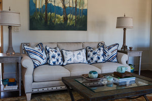 photo of modern Chinese fabric pillows in modern design living room