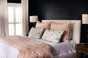 Photo of classic modern bedroom with spice peach colored fabric