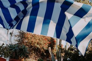 picture of blue and white striped outdoor fabric