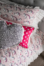 cotton unicorn fabric made into pillows for little girls bedroom decor