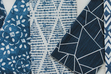 photo of blue modern fabric swatches