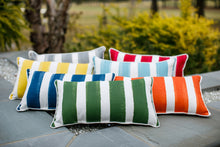 picture of outdoor striped tropical themed fabric pillows