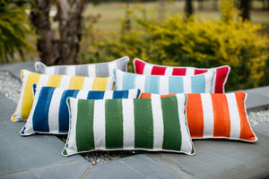 outdoor fabric on striped pillows all colors