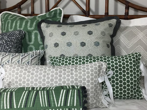 photo of green and grey classic mid modern century fabrics
