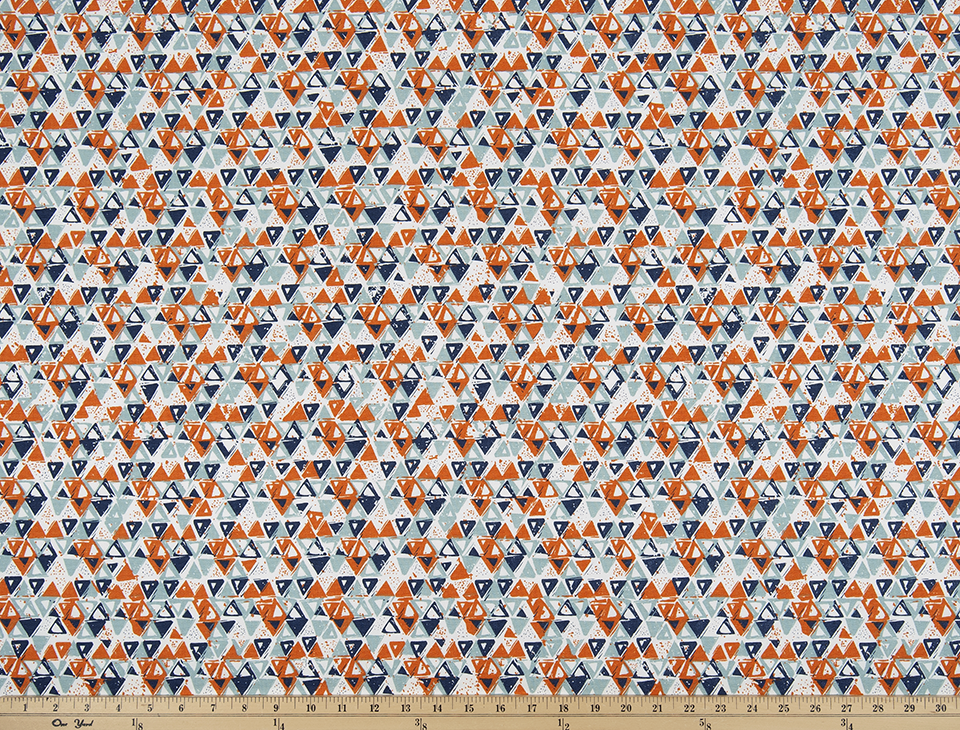Orange Light Sky Dark Navy Blue Beige Small Triangle Printed Fabric
