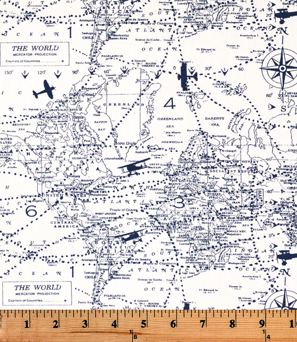 picture of a printed cotton fabric featuring vintage airplanes and travel maps
