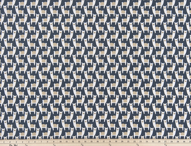 Alpaca Animal Printed on Dark Navy Blue Fabric