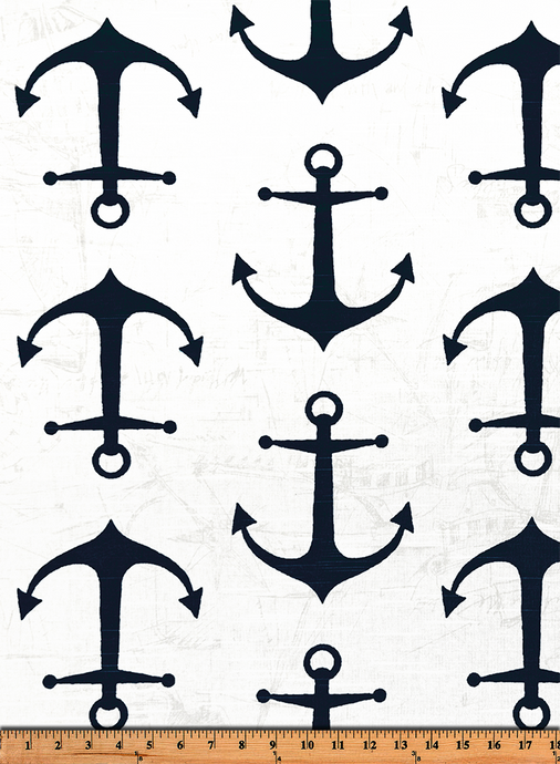 Anchors Premier Navy Slub Fabric By Premier Prints