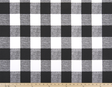 black and white buffalo plaid check fabric that is great for pillows, curtains, bags, and drapes