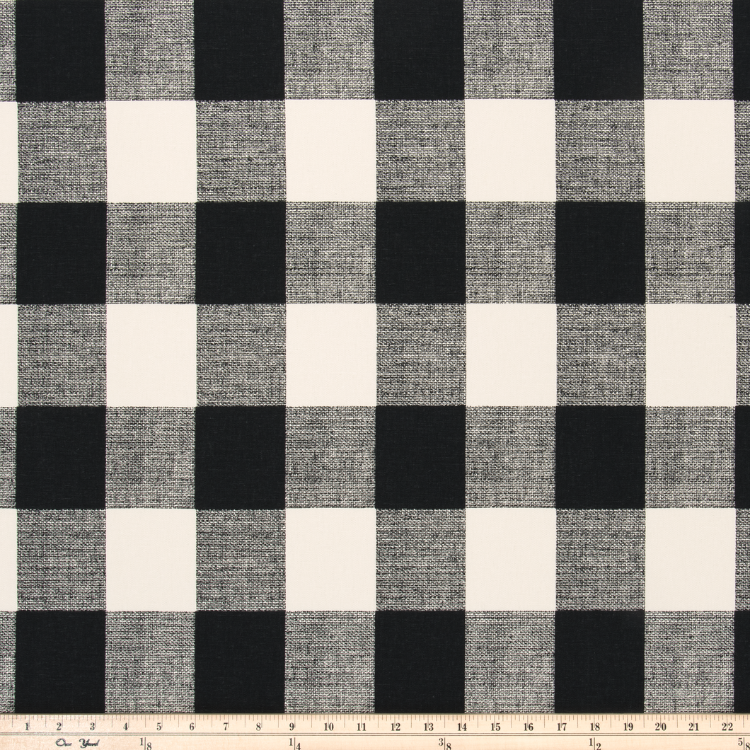 photo of large black plaid fabric